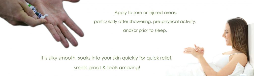 apply to sore or injured areas. quick pain relief and smells great